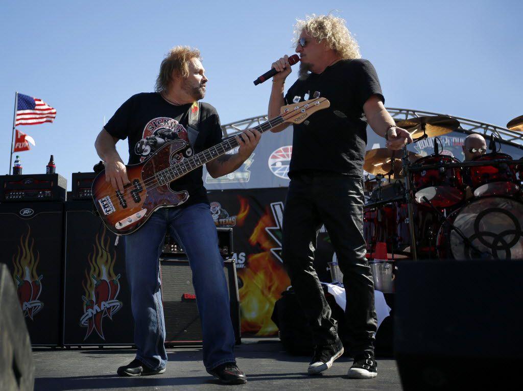 Rockers Sammy Hagar (right) and bass guitarist Michael Anthony, formerly of Van Halen, perform before the NASCAR Sprint Cup Series AAA Texas 500 race at the Texas Motor Speedway in Fort Worth, Sunday, November 8, 2015. (Tom Fox/The Dallas Morning News)