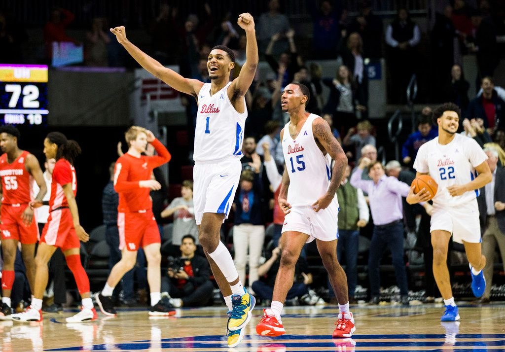 Southern Methodist Mustangs forward Feron Hunt (1) celebrates after a 73-72 win over the Houston Cougars on Saturday, February 15, 2020 at Moody Coliseum in Dallas. (Ashley Landis/The Dallas Morning News)