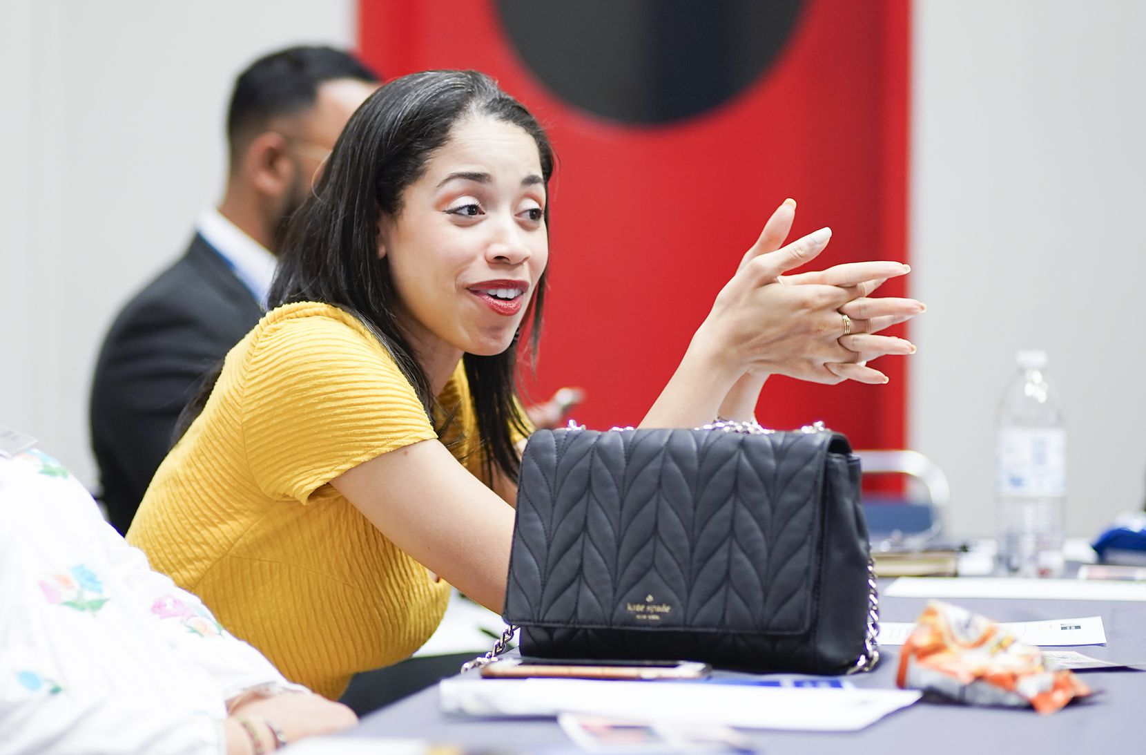 Houston City Council member Amanda Edwards talks during a round table discussion about how Muslims can build civic health and become a more resilient community while challenging radicalized anti-Muslim bigotry on Aug. 31.