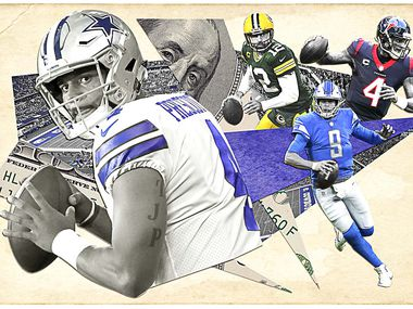 If Dak Prescott and the Cowboys are unable to reach a long-term agreement by March 9, when a second franchise tag must be applied, a split must take place. (Illustration by Michael Hogue, The Dallas Morning News staff)