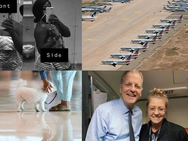 Top left: American Airlines passenger Tisha Rowe shows the romper that she had to cover up on an American Airlines flight. Top right: Grounded American Airlines 737 Max planes in New Mexico. Bottom left: An emotional support animal at DFW International Airport. Bottom right: American Airlines CEO Doug Parker and flight attendant Maddie Peters.