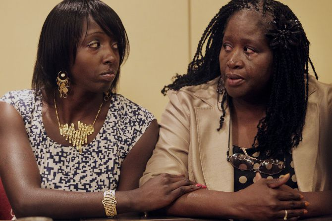 Karletha Gundy comforted her mother, Vickie Cook, during the 2012 news conference when they announced they were suing the city.
