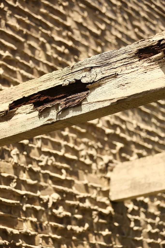 This wooden beam outside Robin Bobo's old apartment was part of the reason he had to move.