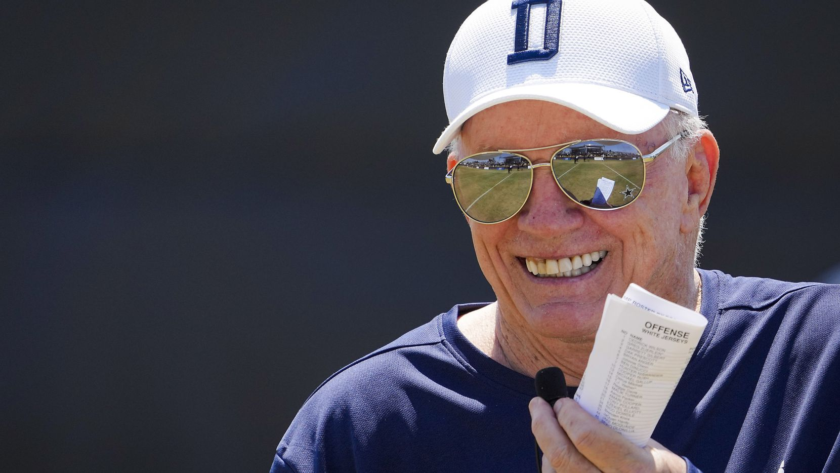 Dallas Cowboys owner and general manager Jerry Jones addresses the crowd following a practice at training camp on Tuesday, Aug. 10, 2021, in Oxnard, Calif. Tuesday's practice was closed to the general public for Heroes Appreciation Day, honoring military and first responders.