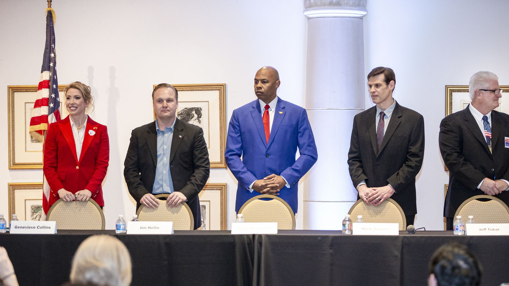 (From Left) Republican Candidates for District 32 Genevieve Collins, Jon Hollis, Floyd McLendon, Mark Sackett and Jeff Tokar are introduced during the Republican Candidate Forum at the Museum of Biblical Art, Tuesday, February 18, 2020. (Brandon Wade/Special Contributor)