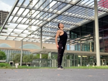 "Bruce Wood Dance company member Cole Vernon performing ""Imagine"" in front of Winspear Opera House."