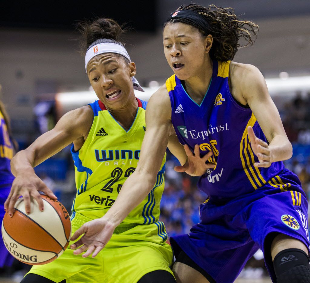Dallas Wings forward Aerial Powers (23) keeps the ball away from Los Angeles Sparks guard Whitney Knight (35) during the fourth quarter of their game on Saturday, June 11, 2016 at the University of Texas at Arlington's College Park Center in Arlington, Texas.  (Ashley Landis/The Dallas Morning News)