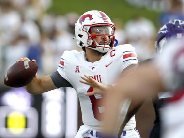 SMU quarterback Tanner Mordecai (8) looks to pass during the first half against Abilene Christian University. The two teams played their season opening football game at SMU's Ford Stadium in Dallas on September 4, 2021.