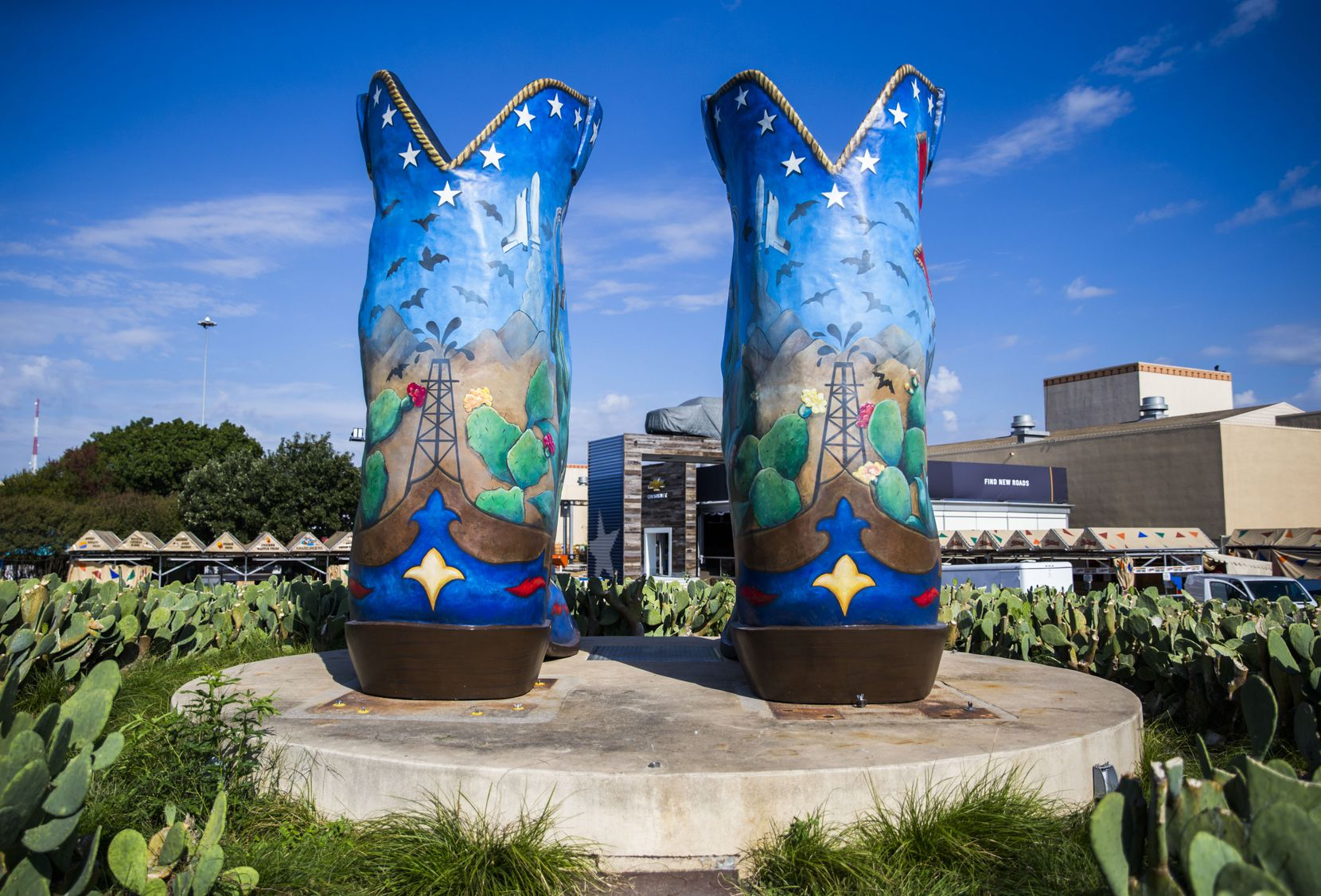 Prior to the opening of the 2019 State Fair of Texas, Big Tex's new boots sat on display at Fair Park on Friday, September 13, 2019 before the big guy was put back up for the fair. The design on the new pair of boots was by Katie Sauceda of Keller, Texas.