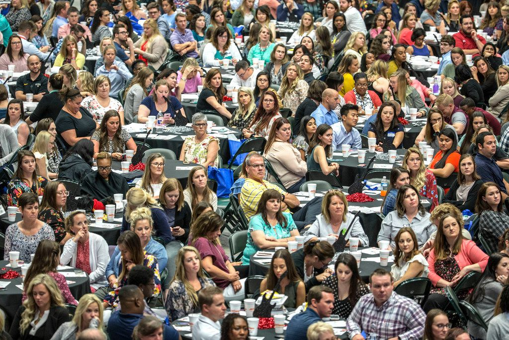 More than 900 new teachers and staff in Frisco ISD attended a Teacher Welcome at Dr Pepper Arena in Frisco on July 30. The annual event is hosted by the Frisco Chamber of Commerce and CoServ.