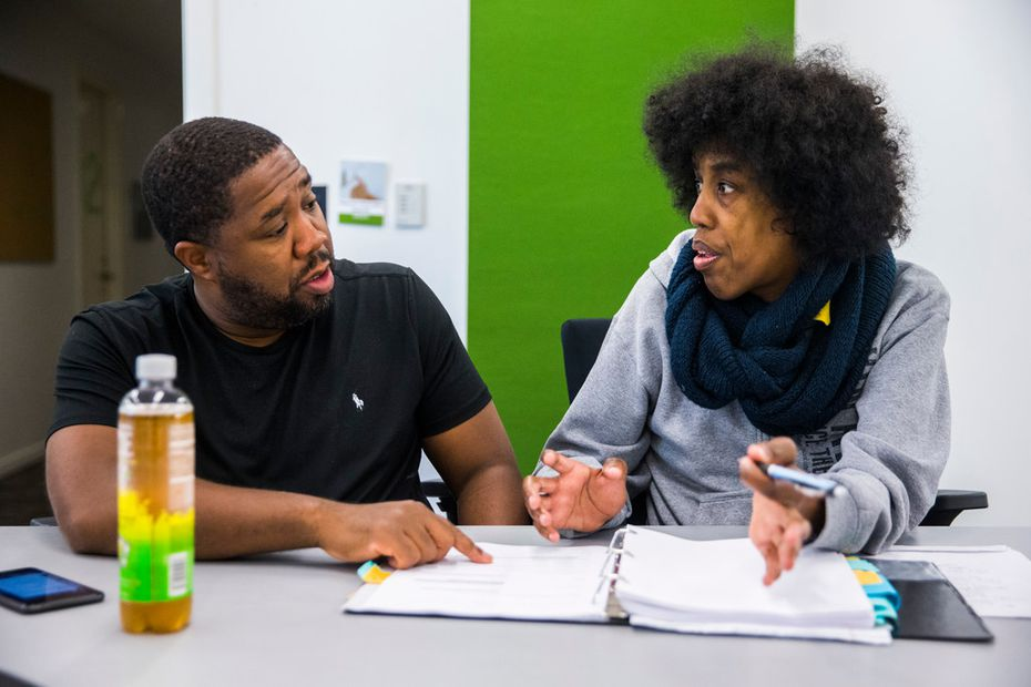 Dallas playwright Jonathan Norton, right, and director Derrick Sanders work on 'Penny Candy,' commissioned by the Dallas Theater Center written by Norton, on Oct. 19, 2017.
