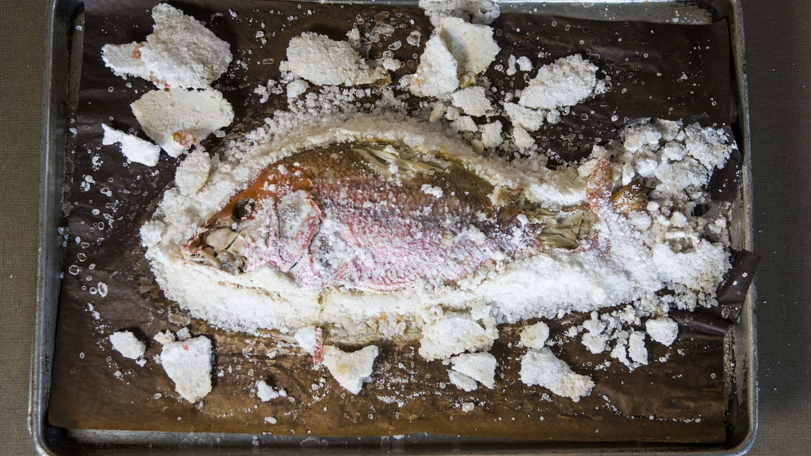 A baked Salt Crusted Red Snapper on Nov. 14, 2019 at Sea Breeze Fish Market in Plano. (Ashley Landis/The Dallas Morning News)
