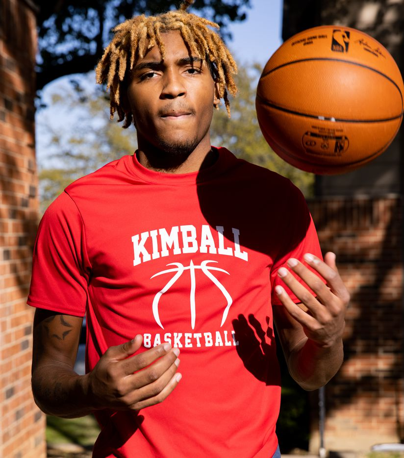 Arterio Morris, a Kimball junior basketball player and the 2021 all-area boys basketball player of the year, poses for a photo in Arlington on Wednesday, March 31, 2021.