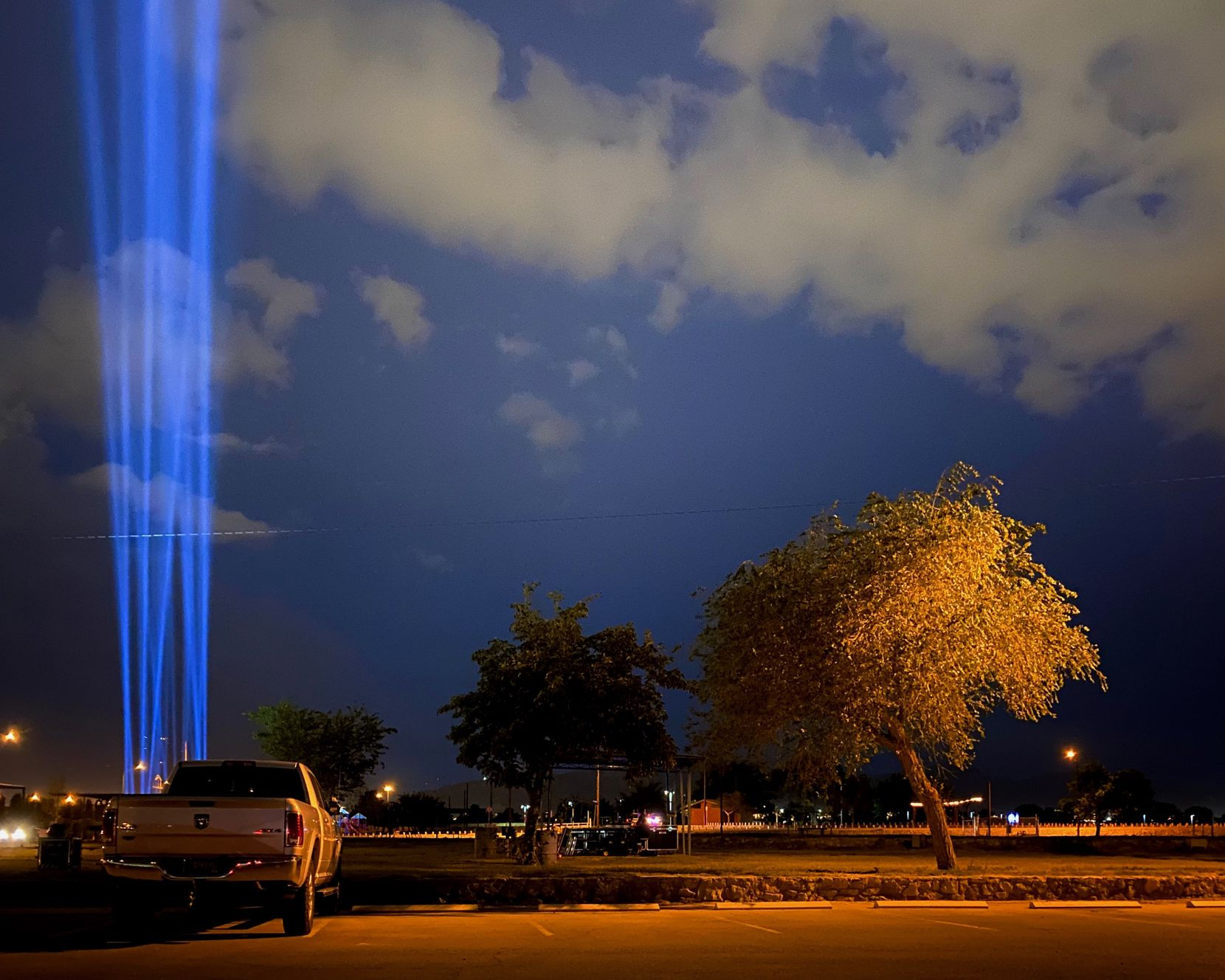 As part of the one-year memorial ceremonies, El Paso sent 23 beams of blue light shining into the night in memory of all those slain during the massacre a year earlier.