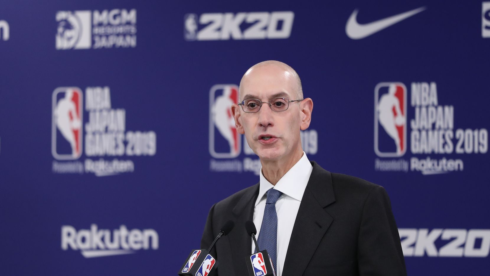 Commissioner of the National Basketball Association (NBA) Adam Silver speaks during a press conference prior to the preseason game between Houston Rockets and Toronto Raptors at Saitama Super Arena on October 08, 2019 in Saitama, Japan. (Takashi Aoyama/Getty Images/TNS)