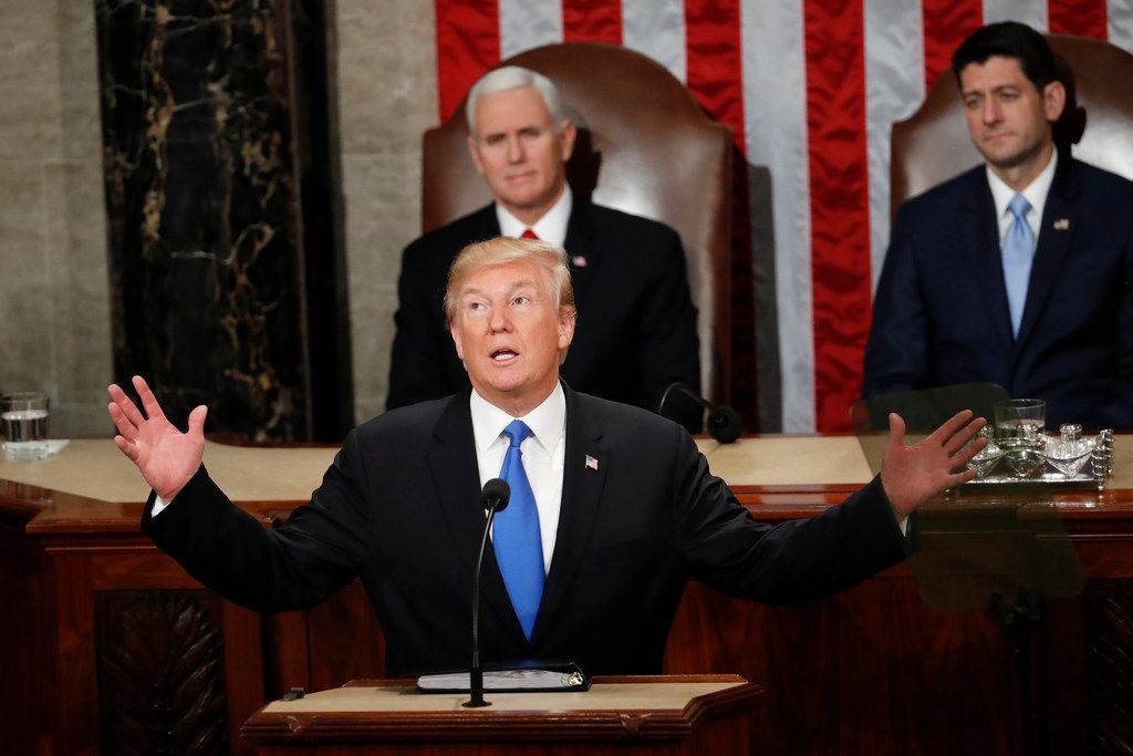 The immigration and border security debate will be front and center when President Donald Trump delivers his State of the Union address on Tuesday. On Jan. 30, 2018, Trump delivered his first address to a joint session of Congress on Capitol Hill in Washington.