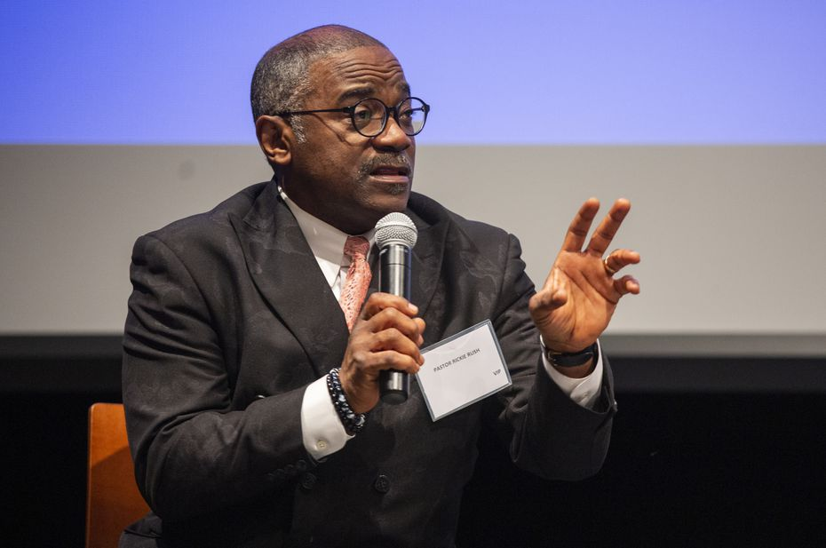 Pastor Rickie Rush spoke on a prison reform panel during Hope Summit at Cedar Valley College in February 2020.