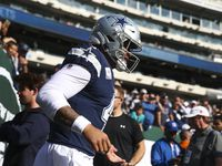 Dallas Cowboys quarterback Dak Prescott (4) takes the field for pregame warm ups before an NFL game between the Dallas Cowboys and New York Jets on Sunday, Oct. 13, 2019 at MetLife Stadium in East Rutherford, New Jersey.