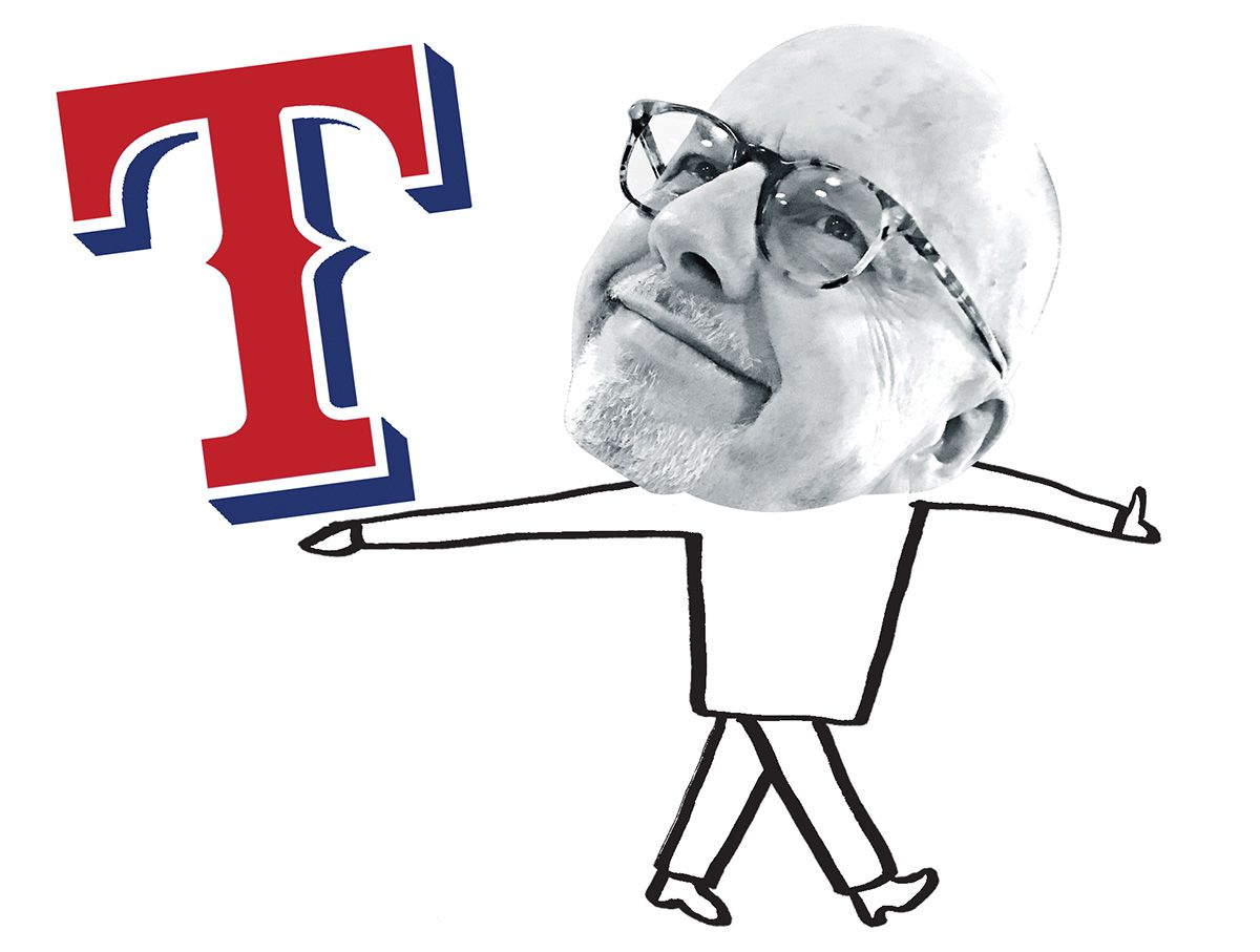 An illustration of columnist Kevin Sherrington holding the logo of the Texas Rangers, a team he was very wrong about. (DMN file photo)