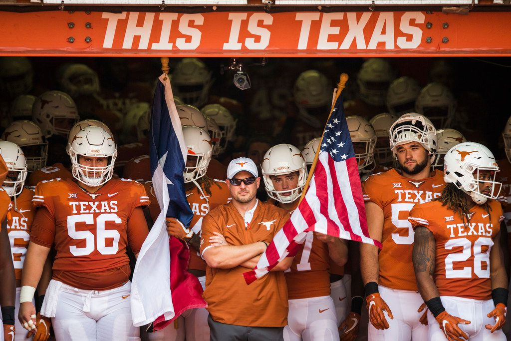 Texas Longhorns head coach Tom Herman waits in the tunnel with his team before a college football game between Baylor and the University of Texas on Saturday, October 13, 2018 at Darrell K Royal Memorial Stadium in Austin, Texas.