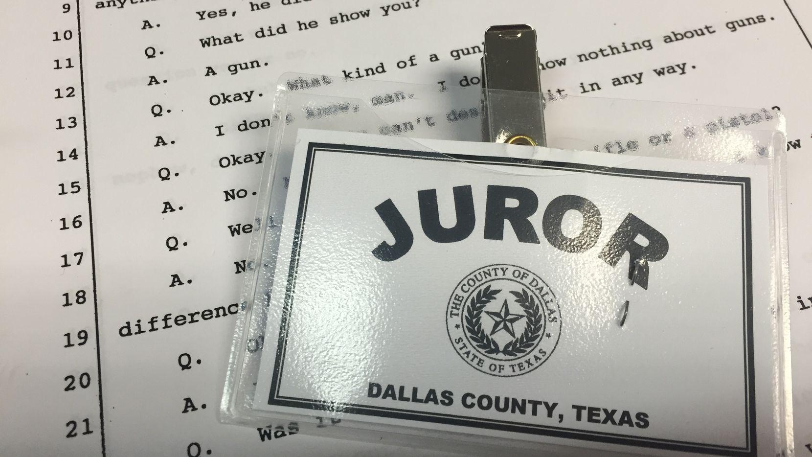 Dallas County juror badge (Jennifer Emily/Staff)
