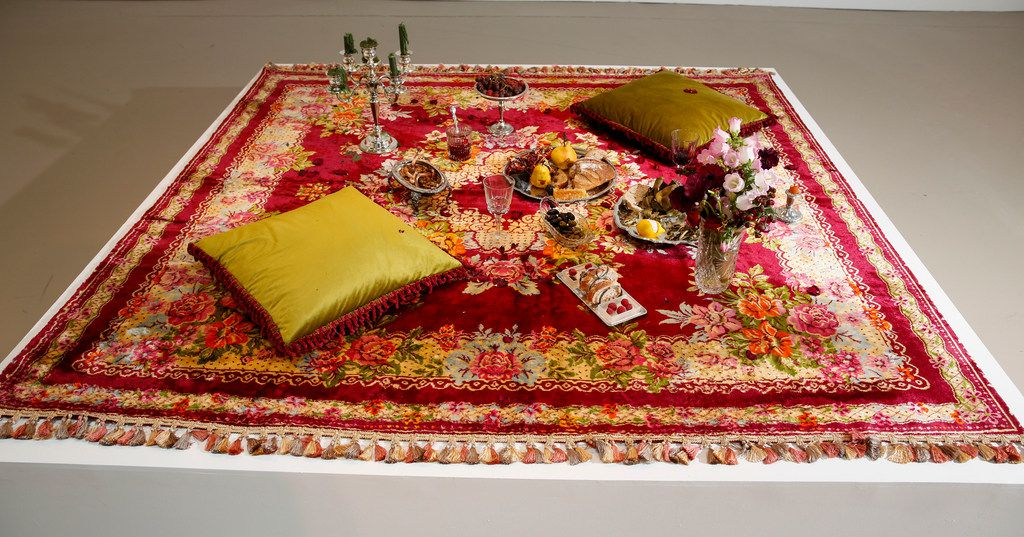 Artist Erin Stafford's A Lover's Picnic Followed by Post-Coital Tristesse piece on display at Kirk Hopper Fine Art.