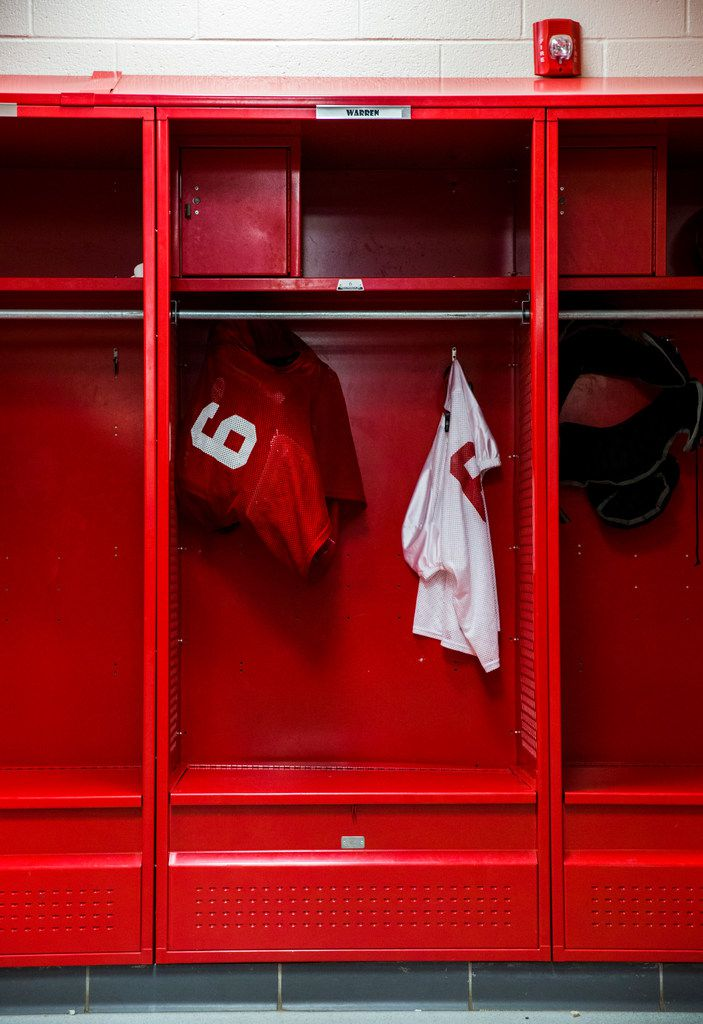 A jersey with the number 6 hangs in the former locker of Dallas Cowboys quarterback Dak Prescott on Tuesday, June 26, 2018 in Haughton, Louisiana. Prescott graduated from Haughton High School in 2010. He wore jersey number 6. (Ashley Landis/The Dallas Morning News).