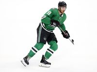 Dallas Stars left wing Michael Raffl (18) reacts to a play against the Colorado Avalanche during the second period of a preseason game at the American Airlines Center in Dallas, Thursday, October 7, 2021.