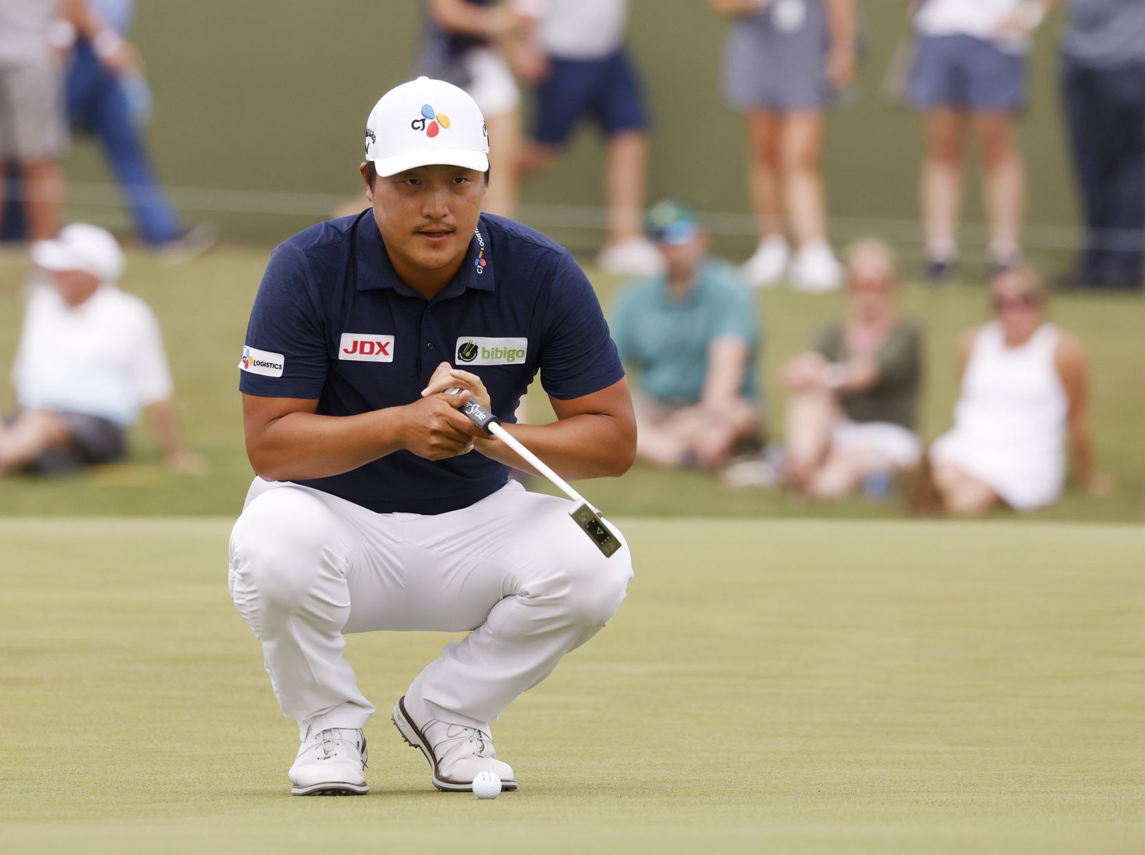 Kyoung-Hoon Lee lines up his putt on the 16th hole during round 3 of the AT&T Byron Nelson  at TPC Craig Ranch on Saturday, May 15, 2021 in McKinney, Texas. (Vernon Bryant/The Dallas Morning News)