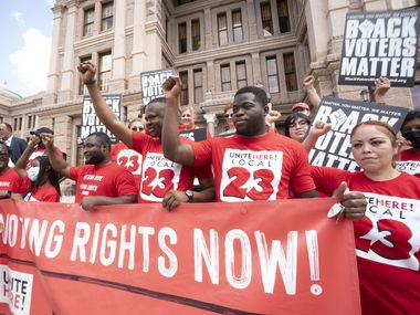 """A coalition of voting rights groups including Black Voters Matter and the Texas Right to Vote Coalition rally at the Capitol to decry """"election security """" bills being advocated by Gov. Greg Abbott."""