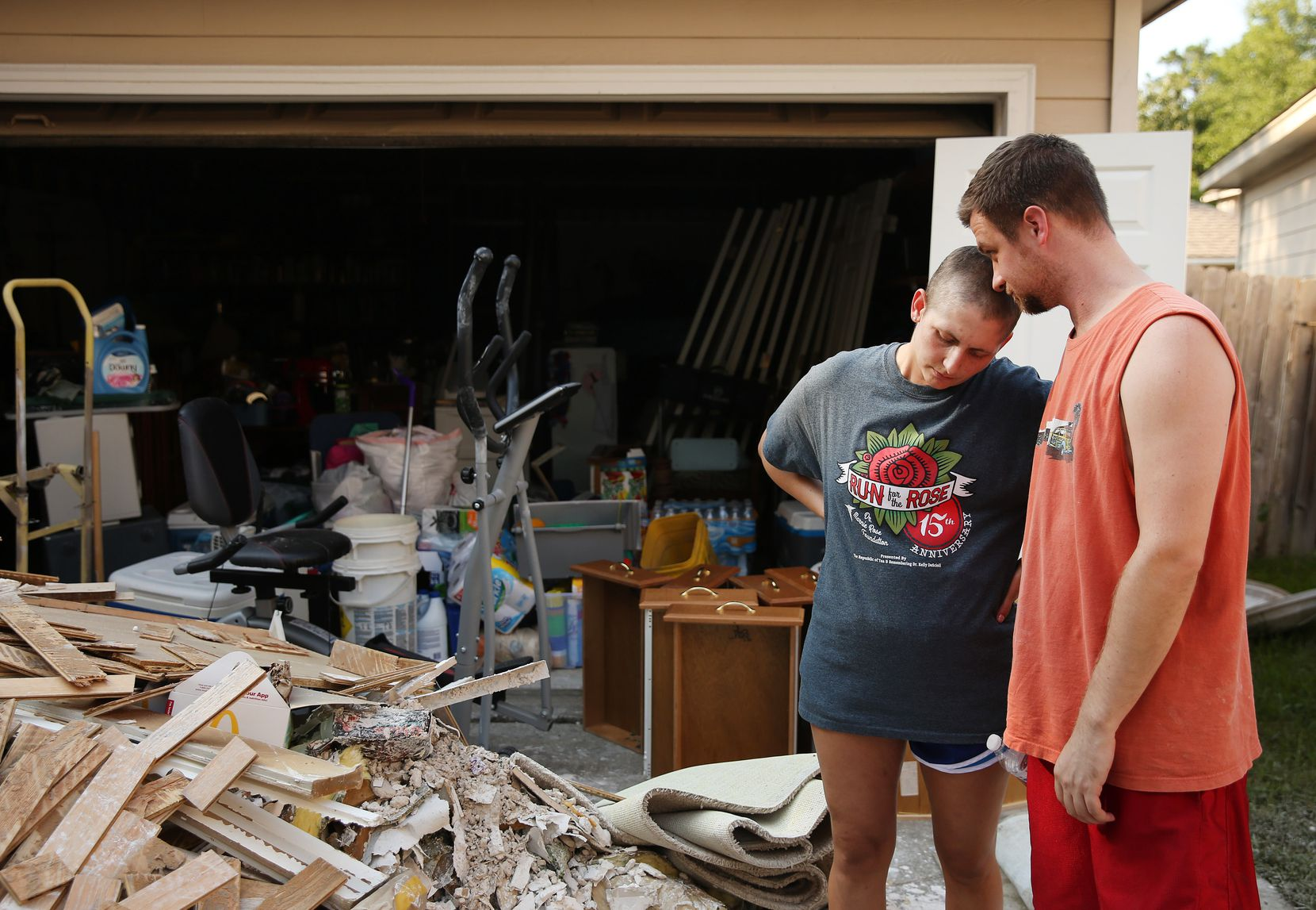Josh and Sarah Dill were at home when they had to evacuate when flood waters entered their home with their two children, Brian, 4, and Rebekah, 2, and into an inflatable boat. When Josh tried to close the front door on the way out the door slammed on his hand and broke it. After finding a job in January 2017 after a stint of unemployment, the family found out the Sarah had breast cancer in February of 2017. Sarah has had a mastectomy and a chemotherapy treatment, and had to get a radiation treatment on the day recovery efforts were taking place in her house. Following flooding caused by Harvey they are gutting their home of damaged items and sheetrock.