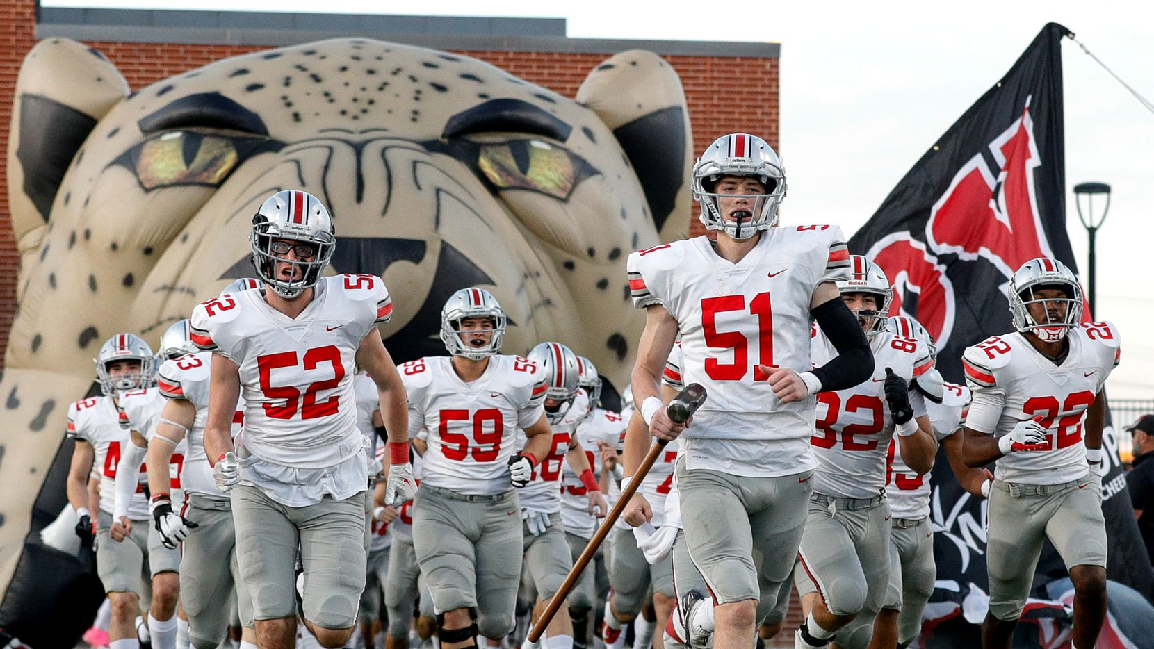The Lovejoy Leopards enter the field to face Prosper Rock Hill in a District 7-5A high school football game played at the Children's Health Stadium on Friday, Oct. 1, 2021, in Prosper.