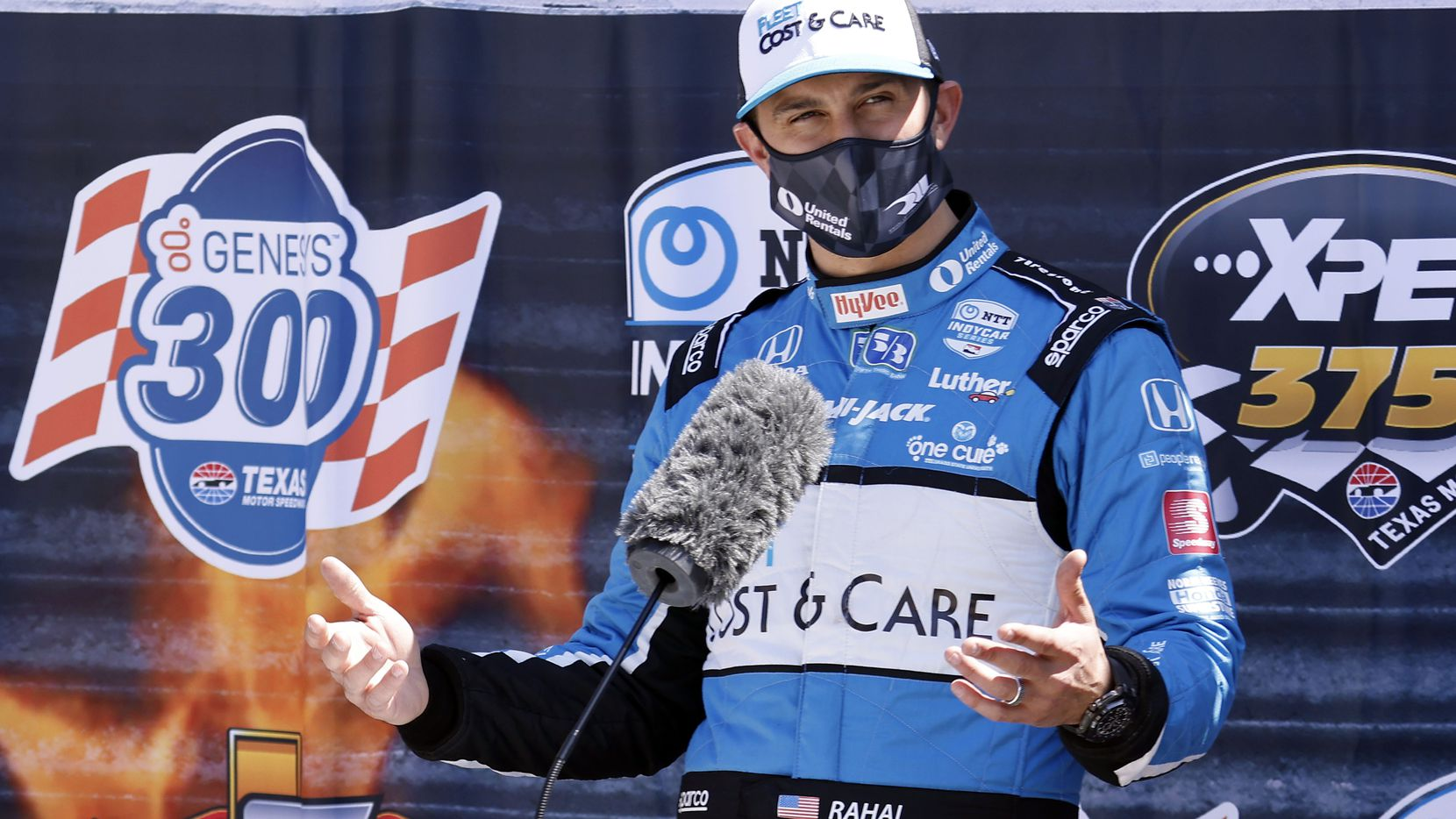 Indy Car driver Graham Rahal talks about his practice laps at Texas Motor Speedway for the upcoming NTT IndyCar Series in Fort Worth, Wednesday, March 31, 2021. (Tom Fox/The Dallas Morning News)