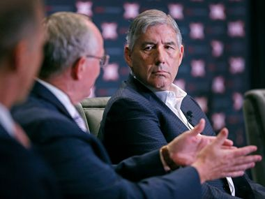 Bob Bowlsby, Commissioner of Big 12 Conference, right, listens to Gene Taylor, Director of Athletics of Kansas State University, center, during a panel discussion on eSports at the Big 12 ConferenceÕs state of college athletics forum at Statler Hotel in Dallas, Wednesday, May 23, 2018. (Jae S. Lee/The Dallas Morning News)