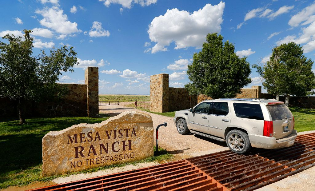 Businessman T. Boone Pickens enters a gate on his Mesa Vista Ranch in the panhandle of Texas near the town of Miami in 2017.