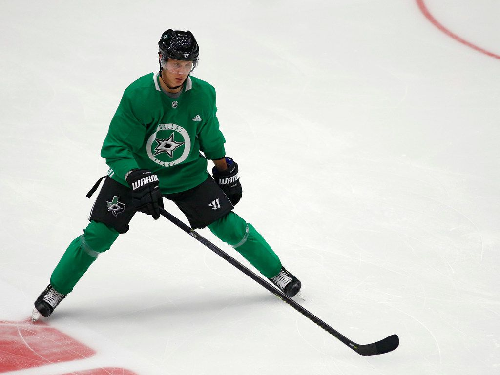 Dallas Stars Joel Kiviranta (49) warms up with the team during the Dallas Stars prospect camp at Comerica Center in Frisco, Texas on Wednesday, June 26, 2019. (Vernon Bryant/The Dallas Morning News)