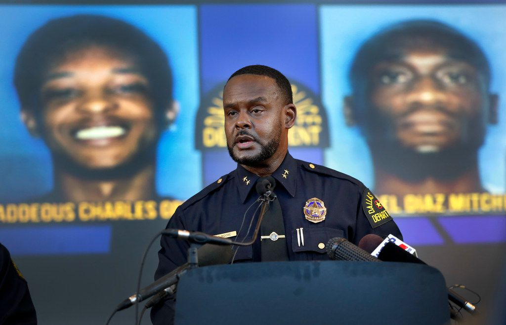 Dallas Assistant Chief of Police Avery Moore addressed the media about a drug deal gone bad resulting in the death of Joshua Brown. The police are still looking for suspects Thaddeous Charles Green and Michael Diaz Mitchell. They already have Mitchell's nephew, Jacquerious Mitchell, in custody.  Brown, who was a neighbor of Botham Jean at the South Side Flats, was also a character witness in the Amber Guyger trial. The news conference was held at Dallas Police Headquarters on Tuesday.