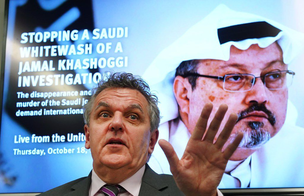 Robert Mahoney, deputy executive director of the Committee to Protect Journalists, speaks during a news conference at the United Nations on Oct. 18, 2018.  Members from Human Rights Watch, Amnesty International, the Committee to Protect Journalists and Reporters Without Borders make an appeal regarding the disappearance of Saudi journalist Jamal Khashoggi.