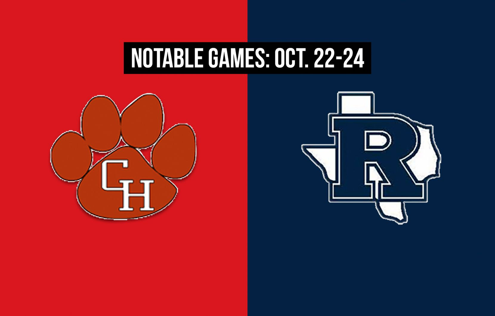 Notable games for the week of Oct. 22-24 of the 2020 season: Colleyville Heritage vs. Richland.