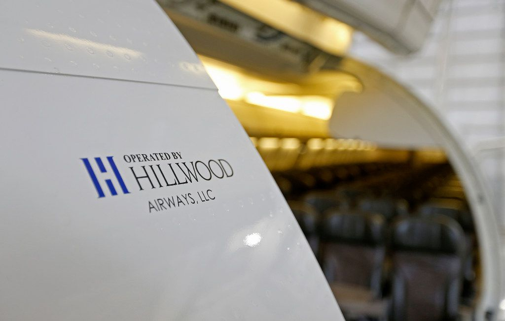 A logo of Hillwood Airways on the B737-700 aircraft at Fort Worth Alliance Airport in Fort Worth, Texas, Tuesday, Aug. 8, 2017. (Jae S. Lee/The Dallas Morning News)