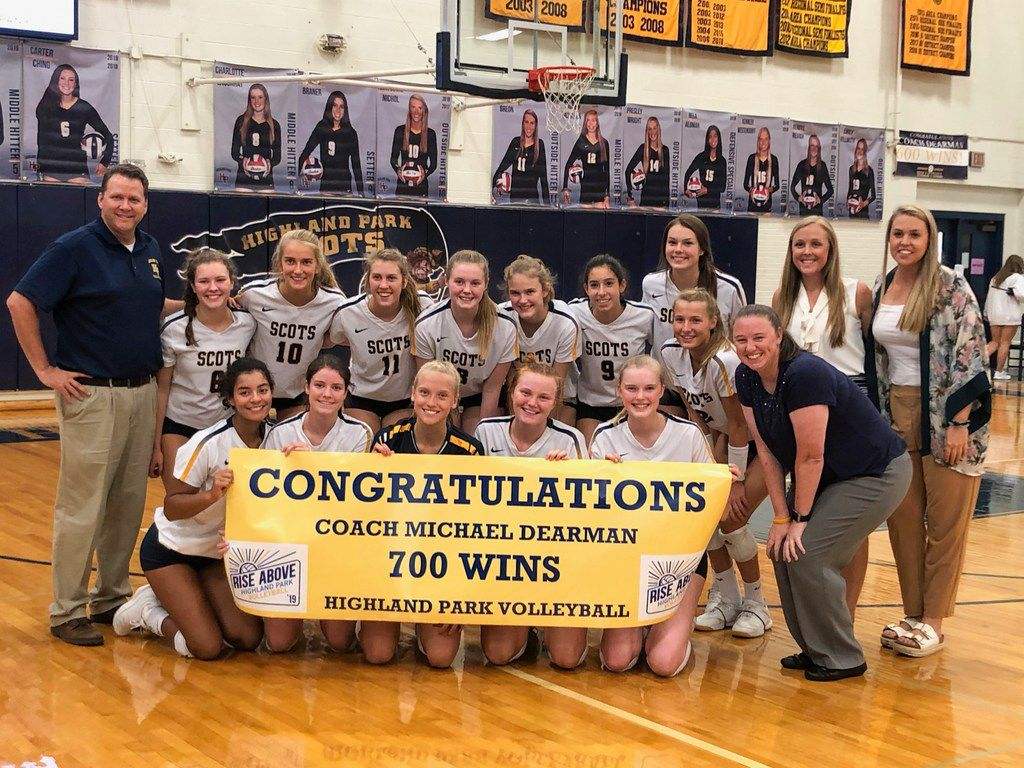 Coach Michael Dearman and the Highland Park volleyball team celebrate after Dearman earned his 700th career victory on Tuesday, Sept. 10, 2019.. (Courtesy photo)