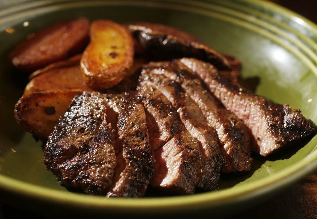 Diners at Mudhen can create their own bowl, as in this one starring 44 Farms flat-iron steak and fingerling potatoes.