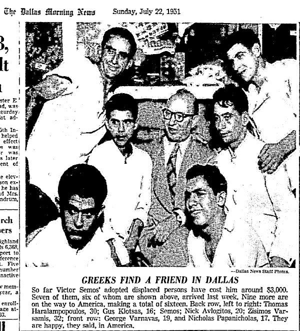 """Greeks find a friend in Dallas"". Published on July 22, 1951."