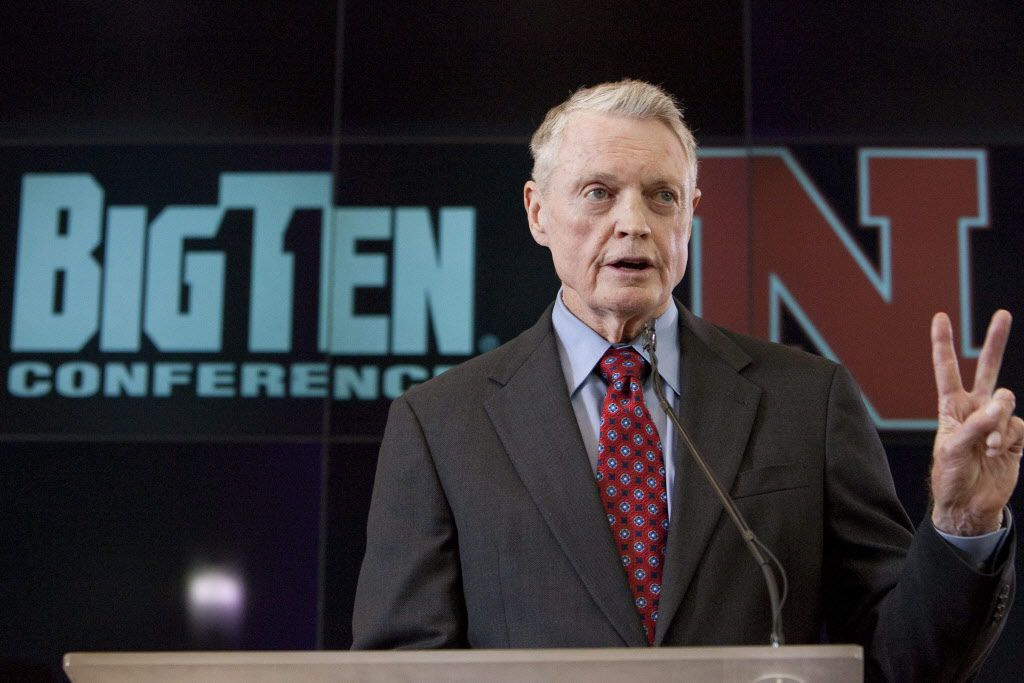 """In this June 11, 2010, file photo, Nebraska's athletic director Tom Osborne speaks to the media during a news conference in Lincoln, Neb. Nebraska's departure from the Big 12 Conference will cost the university more than $9 million. Osborne said the long-term benefits of entering the Big Ten makes the settlement a """"very good investment."""" (AP Photo/Nati Harnik, File)"""