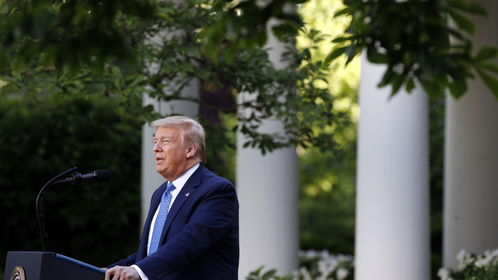 President Donald Trump speaks Monday in the Rose Garden of the White House.