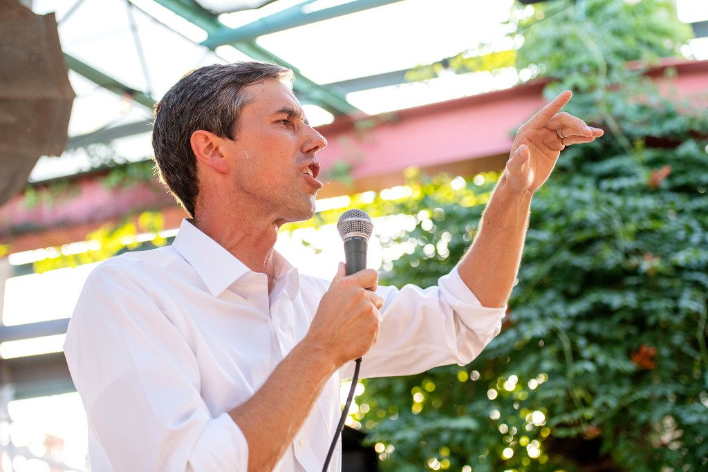 Rep. Beto O'Rourke, a Democrat looking to unseat incumbent Republican Sen. Ted Cruz, spoke at a rally at Mudhen Meat and Greens in Dallas in May.