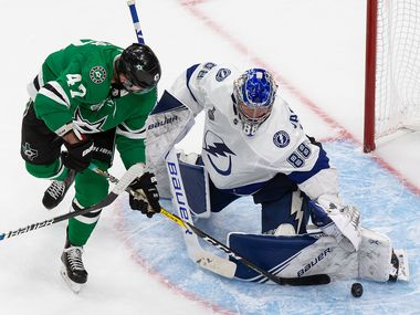 Alexander Radulov (47) of the Dallas Stars takes a shot on goaltender Andrei Vasilevskiy (88) of the Tampa Bay Lightning during Game Four of the Stanley Cup Final at Rogers Place in Edmonton, Alberta, Canada on Friday, September 25, 2020.