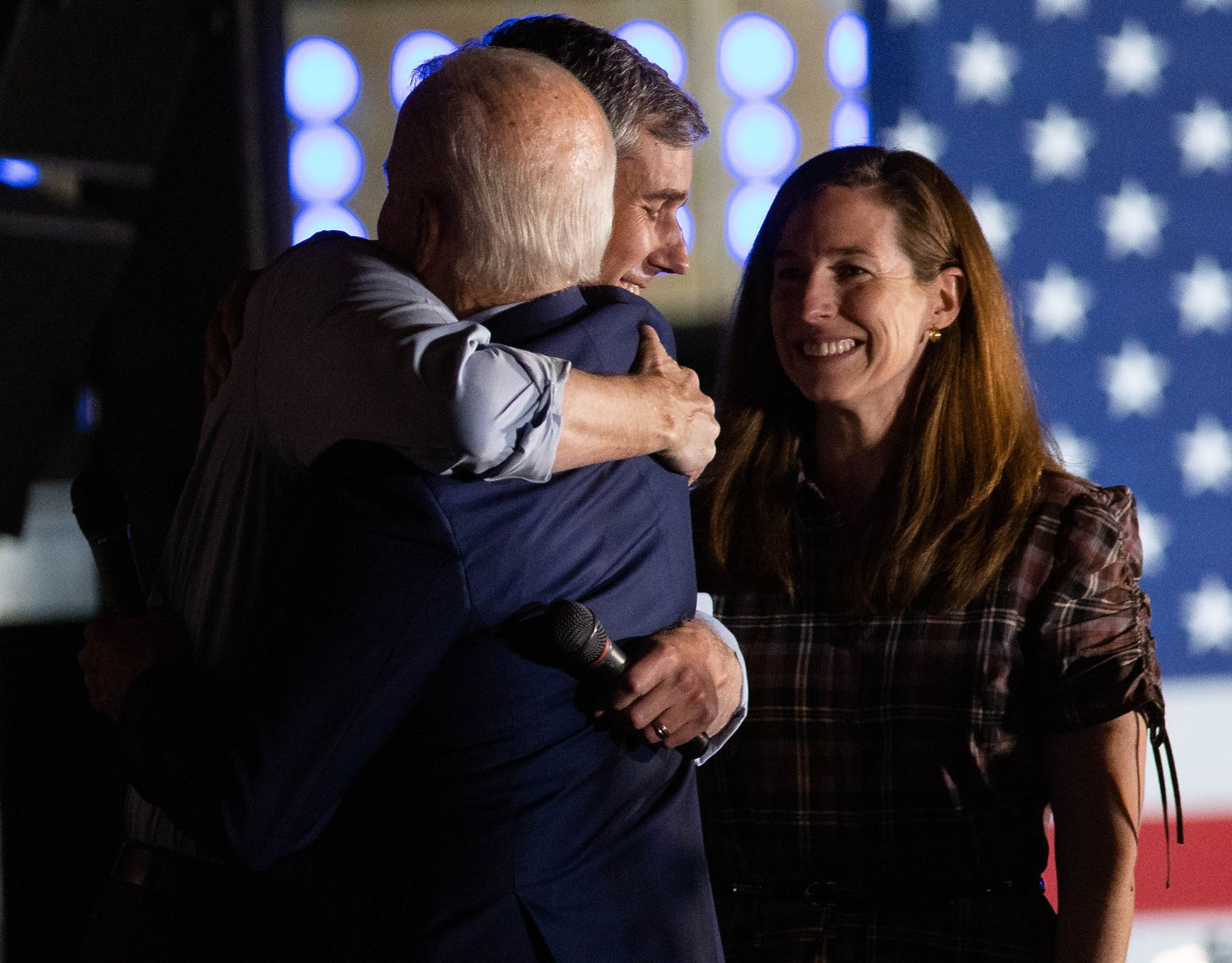 Former Rep. Beto O'Rourke endorses Democratic presidential primary candidate Joe Biden during a rally held at Gilley's in Dallas on March 2, 2020. With them is O'Rourke's wife Amy O'Rourke.