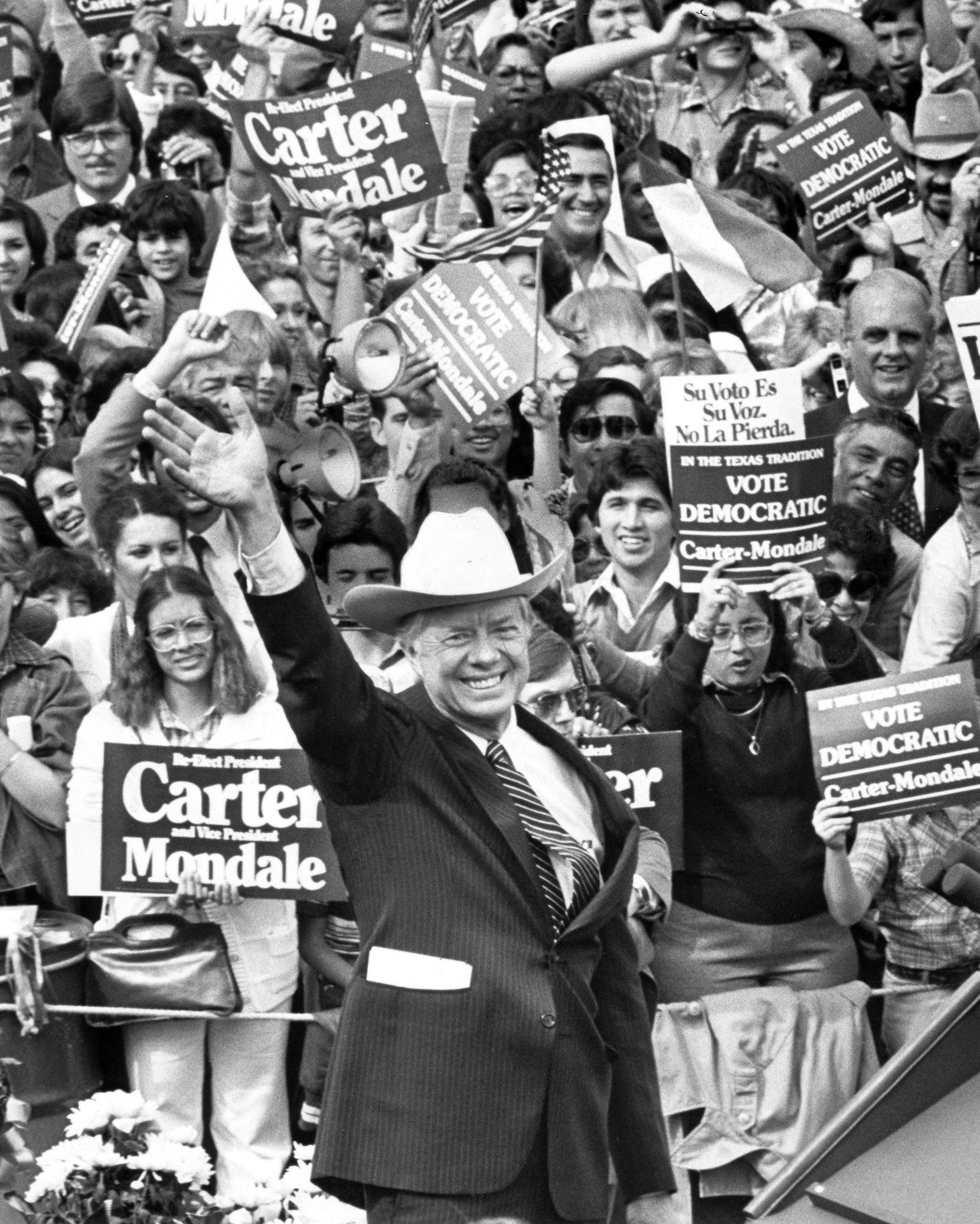 President Jimmy Carter wore a cowboy hat as he campaigned in Brownsville, Texas, on Nov. 1, 1980.
