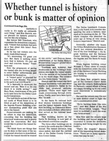 Snip from Steve Blow article published on Jan. 14, 1988.